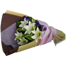 Five Steamed White Color Lily Bouquet Valentines Day