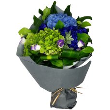 Crystal Blue Roses with Hydrangea Bouquet